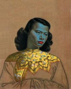 The Chinese Girl (aka The Green Lady or The Blue Lady) Painted by Vladimir Tretchikoff in 1950