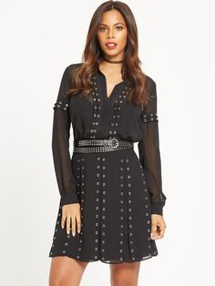 Rochelle Humes Eyelet Dress Tipped to be one of this season's hottest trends, Rochelle rocks the eyelet look with her new LBD! Complete with a studded belt that nips in your waist, this frock is full of attitude and a biker edge that we can't wait to show off.All it needs is a pair of heels and a bold red lip to amp it up and you're good to go!Washing Instructions: Machine Washable