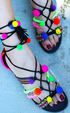 Lace Up Neon Multicolor Pom Pom Sandals BLACK MULTI