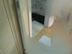 Easiest way to clean glass shower doors! Soak paper towels in white vinegar, stick them to the shower door rubbing out all the wrinkles  air bubbles, leave it for a few hours, come back and peel the paper towels off wiping as you go. Hard water and soap scum will just wipe away! Seriously, no elbow grease needed! Cheap, chemical free way to remove hard water.
