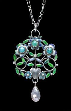 ARTHUR & GEORGIE GASKIN  Arts & Crafts Heart Pendant   Silver Enamel Turquoise Pearl  H: 5 cm (1.97 in)  W: 3 cm (1.18 in)   British, c.1907