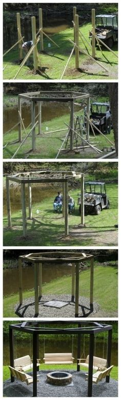 Fire pit with swings Jaclyn and Kalyn show your DAD!!