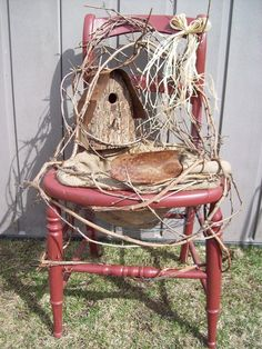 Rustic Bird House Planter Chair