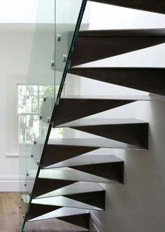 Modern Stairs // Origami Stair by Bell Phillips is made of folded stainless steel and framed with a glass balustrade. Interior Stairs, Interior Architecture, Stairs Architecture, Interior Ideas, Stainless Steel Staircase, Escalier Design, Beautiful Stairs, Beautiful Lines, Glass Balustrade