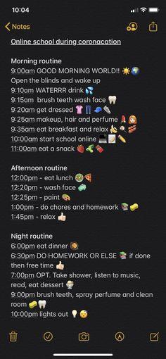 School Routine For Teens, Morning Routine School, School Routines, Life Hacks For School, School Study Tips, School Tips, School Survival Kits, Online High School, Self Care Bullet Journal