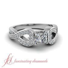 1 CARAT Princess Cut Untreated Diamond Pave Engagement Ring 14K Gold VVS2 GIA