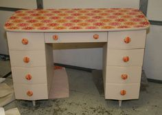 fabric decoupage on refinished painted desk