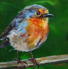 """Olieverf """"Roodborstje op lat"""" op gesso board maat 10 x 10 cm – My Pin's Bird Paintings On Canvas, Bird Painting Acrylic, Texture Painting On Canvas, Watercolor Bird, Animal Paintings, Canvas Art, Watercolor Paintings, Pintura Graffiti, Painting Competition"""