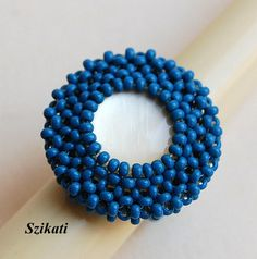 Elegant Blue Seed Bead Cocktail Ring with White Button, Art Beadwork, Women's Beadwoven High Fashion Party Wear Jewelry, Gift for Her, OOAK by Szikati on Etsy