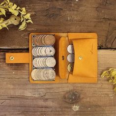 Coin Wallet Ⅱ / YELLOW コインキャッチャー Coin Purse Wallet, Pocket Wallet, Leather Scraps, Pen Case, Logo Stamp, Small Leather Goods, Quilted Leather, Leather Working, Fiber Art