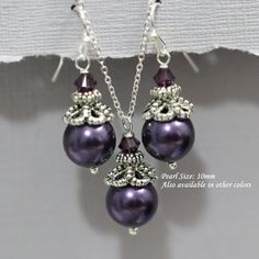 Bridesmaid Gift - Dark Purple Mother of Pearl Bridesmaid Jewelry Set, Dark Purple Necklace and Earring Set, Dark Purple, Maid of Honor Gift