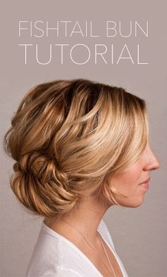 ooh I like this one, it's nice & unstructured - fishtail bun tutorial  http://www.oncewed.com/diy/fishtail-bun-wedding-hair-tutorial-2/#