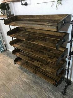 DIY Shoe Rack Ideas On a… Wood Shoe Rack, Diy Shoe Rack, Wooden Rack, Shoe Racks, Rustic Shoe Rack, Wooden Shoe, Pipe Furniture, Industrial Furniture, Industrial Lamps