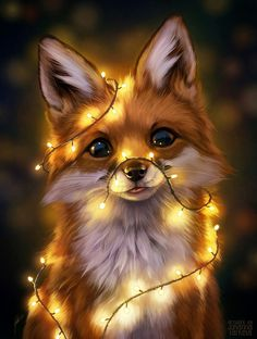 Animal Drawings Fairy Lights, an art print by Johanna Tarkela - INPRNT - This is a gallery-quality giclée art print on cotton rag archival paper, printed with archival inks. Cute Funny Animals, Cute Baby Animals, Animals And Pets, Cute Animals To Draw, Wild Animals, Pet Anime, Anime Animals, Anime Wolf, Stuffed Animals