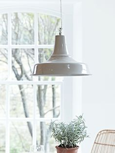 £55 Our industrial inspired pendant light has been made from strong, lightweight iron finished in a soft taupe shade to suit most interior styles. Each pendant includes a simple transparent flex, matching ceiling rose and a gloss white interior to reflect the light into your space. Click here to view our useful lighting buying guide, and take a look at our blog for ideas on how incorporate lighting into your home.