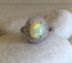 Double Halo Opal Ring Promise Ring Wedding Ring by Belesas on Etsy