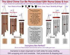 John 11:25 - Biblical Wind Chimes, The Perfect Personalized Sympathy Gift!
