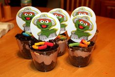 Oscar the Grouch Dirt Cakes with Slimey the worm