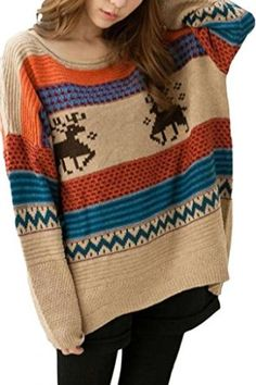 Dear-Lover Women's O-Neck Long Sleeves Retro Striped Christmas Deer Winter Sweater One Size Khaki  Dear-Lover $23.93