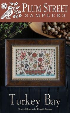 Turkey Bay is the title of this cross stitch pattern from Plum Street Samplers that is stitched with Gentle Art (Piney Woods), Weeks Dye Works