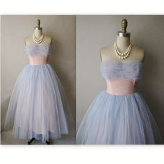 50's Prom Dress // Vintage 1950's Strapless Blue Tulle Prom Wedding Party Dress XS