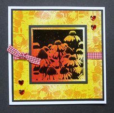 'Dainty Daisies' card.   -  Imagination Craft's - Daisy Art stamp.  Magi-bond glue.  Mixed Media Spray Inks - Yellow & Fuschia.  Versamark pad.  Detail Black embossing powder.   March 2016.