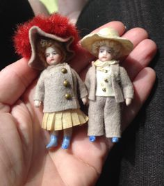 Pair of all original French all bisque dolls from dollyweatherwax on Ruby Lane