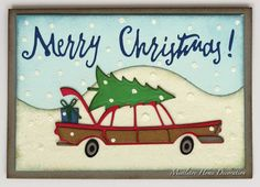 Sizzix Home For The Holiday by Tim Holtz - Christmas card with car, snow and tree