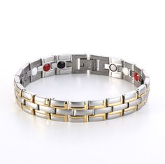 Healing Magnetic Bracelet Men/Woman 316L Stainless Steel Germanium 4 in 1 Health Bracelet Gold Hand Chain FIR, Negative Ion