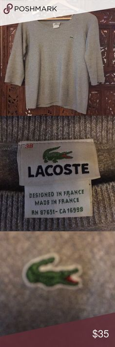 Gray Lacoste sweater- fits like S/M Gray Lacoste sweater, 3/4 sleeves Lacoste Sweaters Crew & Scoop Necks