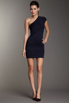 Wow Couture  One Shoulder Metallic Bodycon Dress