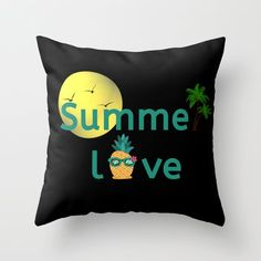 Summer Love Vibes Palms Pineapple Sun Throw Pillow by Pineapple Palm Tree, Interior And Exterior, Interior Design, Outdoor Throw Pillows, Inspirational Gifts, Summer Of Love, Home Deco, Palm Trees, Home And Living