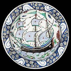 Sotheby's An Iznik polychrome pottery 'ship' dish, first half 17th c.