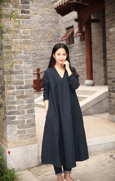 Cotton dress Linen dress Casual loose V-neck Maxi by Luckywu