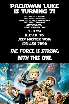 24 best lego star wars birthday images on pinterest birthday party padawan and young jedis will love this lego star wars birthday party invitation printable invite filmwisefo
