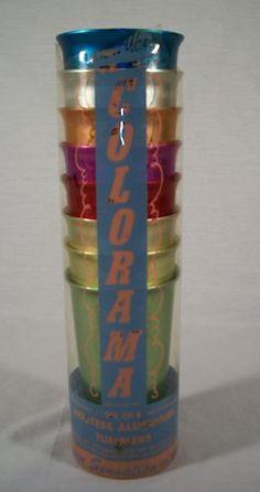 ORIGINAL SLEEVE SET 8 Colorama Heller Hostess Ware Vintage ALUMINUM TUMBLERS Cup | eBay