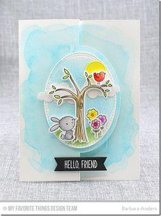 Sweet Forest Friends stamp set and Die-namics, Blueprints 21 Die-namics, Flop Card - Oval De-namics, Puffy Clouds Die-namics, Tag Builder Blueprints 5 Die-namics - Barbara Anders #mftstamps