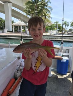 Nice yellowtail snapper caught by this young angler on our drift fishing trip out of Fort Lauderdale. Let's go fishing! www.FishHeadquarters.com