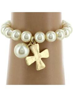 Goldtone Cross and Pearl Bead Bracelet #7759B-GD - Wholesale Accessory Market