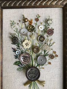 Your place to buy and sell all things handmadeAntique Button Art от warnANDweathered на EtsyCustom Button Picture that you can PersonalizeSend me your Antique or Family heirloom buttons and I will sew a custom picture Diy Buttons, Vintage Buttons, Crafts With Buttons, Buttons Ideas, Crafts To Do, Arts And Crafts, Diy Crafts, Frame Crafts, Wooden Crafts