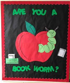 """Teacher_Bulletin_Board_Bookworm (Personal Note: """"Welcome Back"""" Be a Book Worm this Year! Apple Bulletin Boards, Christmas Bulletin Boards, Teacher Bulletin Boards, Birthday Bulletin Boards, Reading Bulletin Boards, Back To School Bulletin Boards, Preschool Bulletin Boards, Bulletin Board Display, Bullentin Boards"""