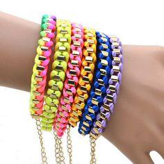 1pc Women Punk Style Gold Tone Chain Twine Rope Weave Bracelet Bangle Adjustable