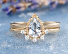 HANDMADE RINGS & BRIDAL SETS by MoissaniteRings on Etsy Unique Rings, Unique Jewelry, Bridal Ring Sets, Handmade Rings, Pear Shaped, Topaz, Gold Rings, Wedding Inspiration, Rose Gold