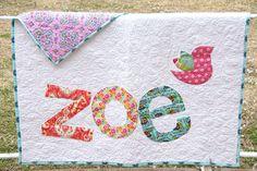 Personalized Quilt, Custom Name Quilt, Baby Quilt,  Raw Edge Applique Quilt. $85.00, via Etsy - cottonandclover