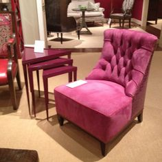 Pink slipper chair from Hancock and Moore
