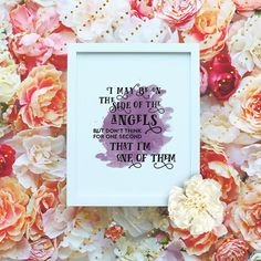 """My favorite Sherlock Quote!!! I may be on the side of the angels - 8x10"""" Sherlock Printable Poster - Watercolor Sherlock BBC Wall Art- Sherlock Quote - Instant Download"""