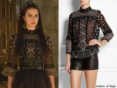 In the episode 2x01 (The Plague) Mary will be wearing this Anna Sui Printed Silk-Chiffon Blouse with an Alaia embossed leather waist belt.