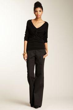 Black V-neck Sweater, black trouser pants