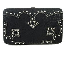 Montana West Tooled Fashion Western Checkbook Frame Wallet w/ Silver Studs - Black  $27.99 + Free Shipping!  wantedwardrobe.com  wantedwardrobe.net  #fashion #wallets