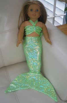 pattern for american doll mermaid outfit American Girl Doll Mermaid Tail Outfit Costume by CoolTailzAndMore Ropa American Girl, American Girl Crafts, American Doll Clothes, Girl Doll Clothes, Doll Clothes Patterns, Girl Dolls, Ag Dolls, Doll Patterns, Barbie Clothes